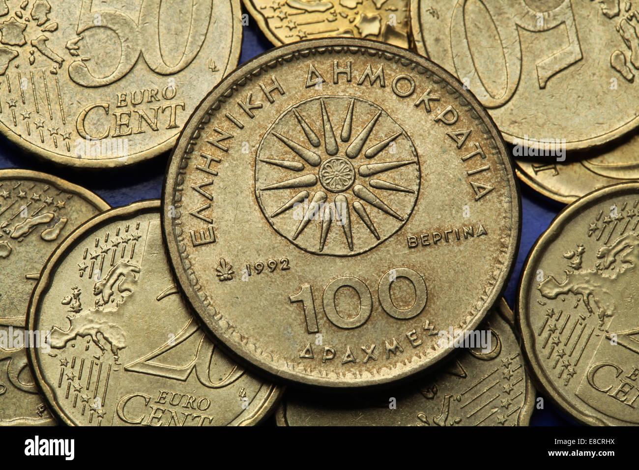 Münzen Aus Griechenland Die Vergina Sonne Dargestellt Auch Bekannt