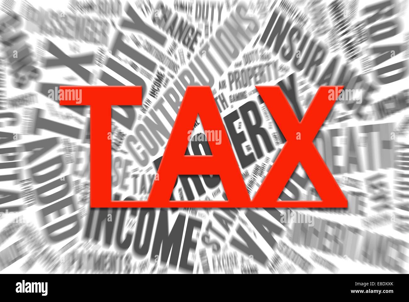 Sammlung von Wörtern, die Steuern in Großbritannien auf. Stockfoto