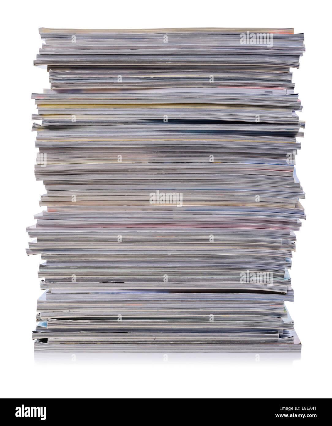 Große Haufen von Zeitschriften Stockfoto