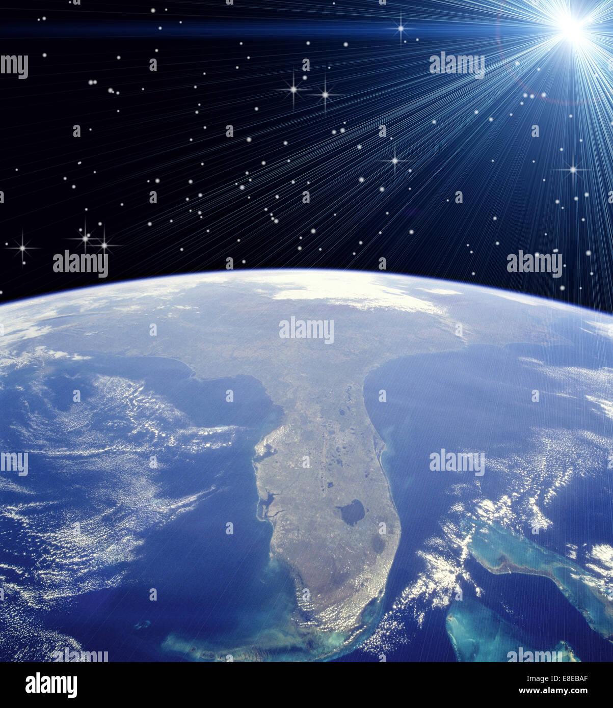 NASA-Foto aus dem Weltall zeigt Florida und hellen Stern Stockbild