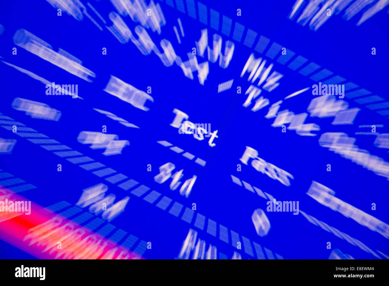 Fehlermeldung auf einem blauen Bildschirm-Test Stockbild