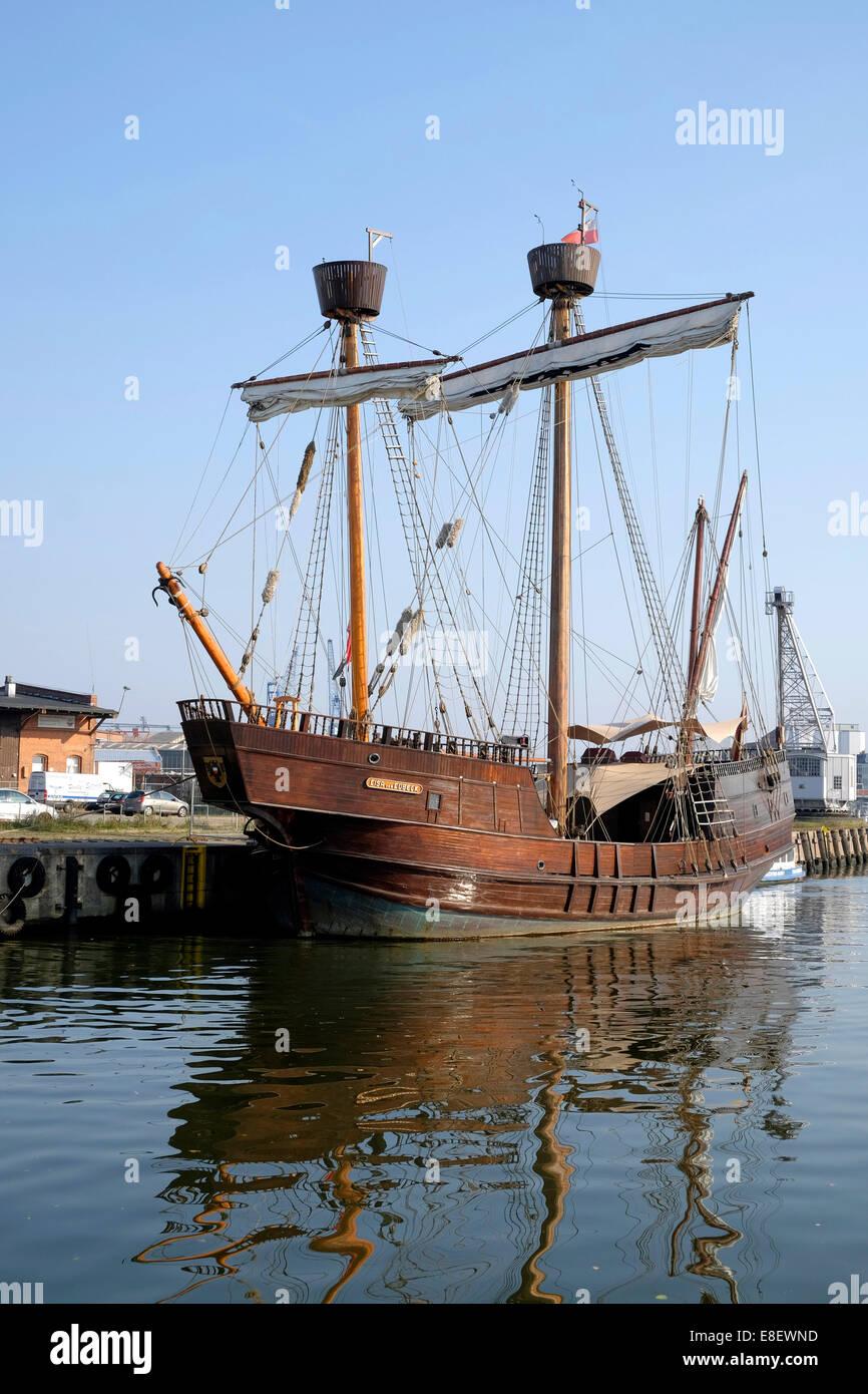 Historisches Schiff Replik, Lisa von Lübeck, Hafen, Lübeck, Schleswig-Holstein, Deutschland Stockfoto