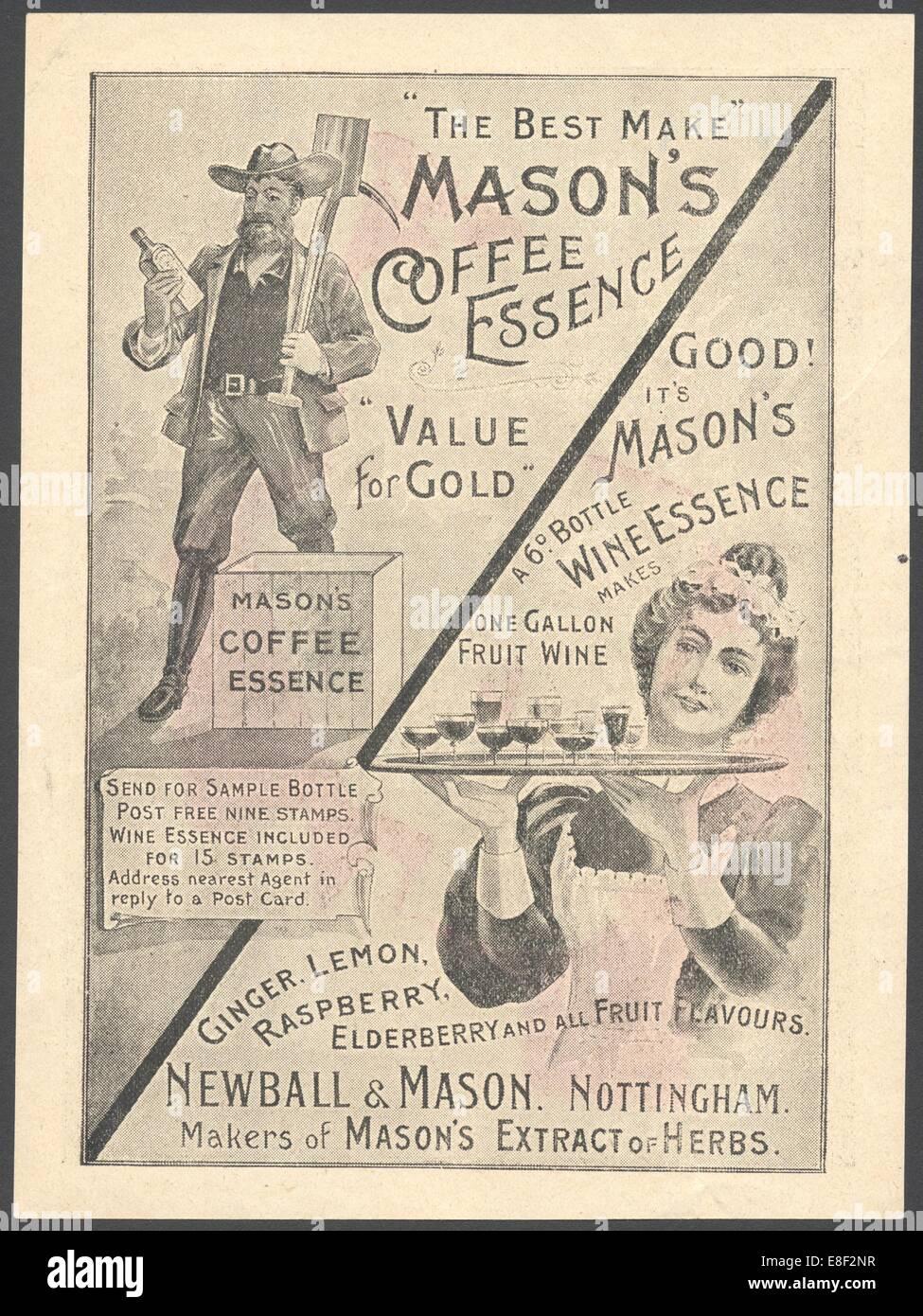 Newball & Mason Kaffee-Essenz, der 1890er Jahre. Stockbild