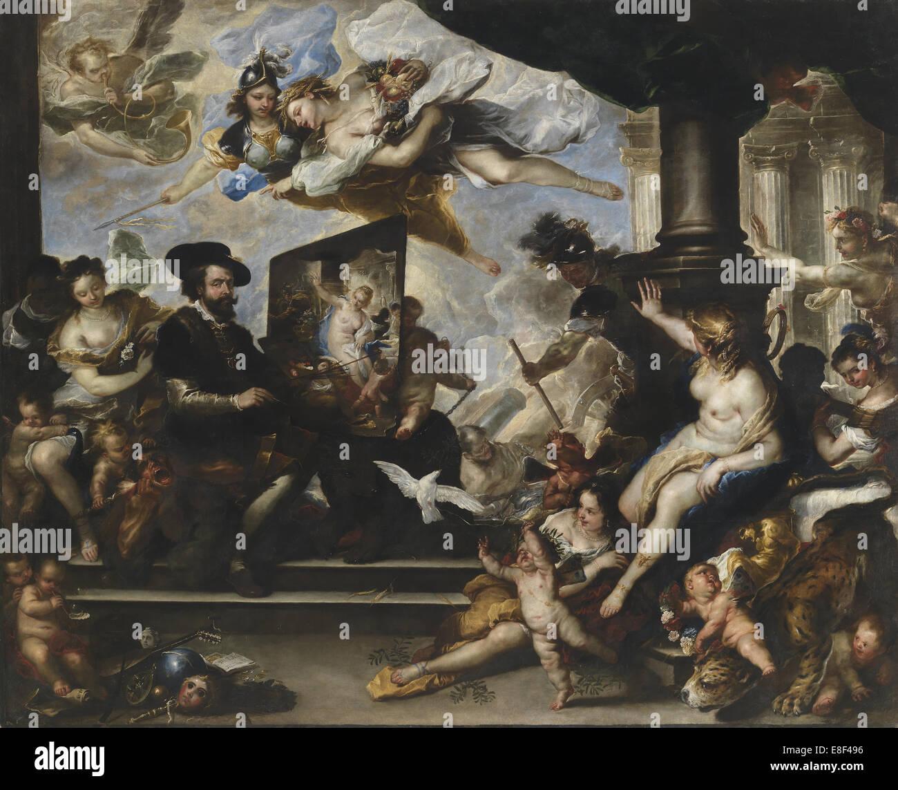 Rubens Gemälde die Allegorie des Friedens. Künstler: Giordano, Luca (1632-1705) Stockbild