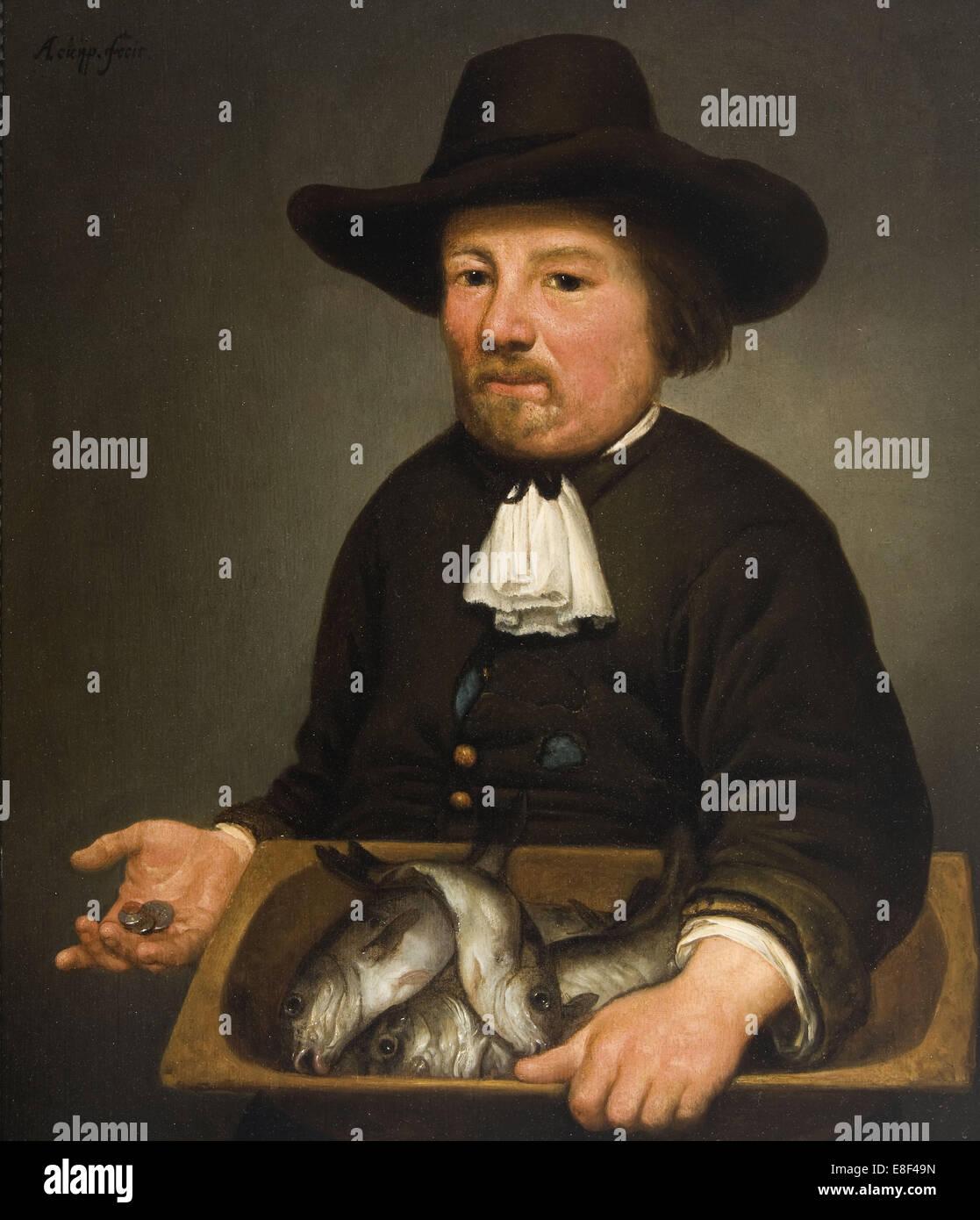 Mann mit dem Eimer von Fischen. Künstler: Cuyp, Aelbert (1620-1691) Stockbild