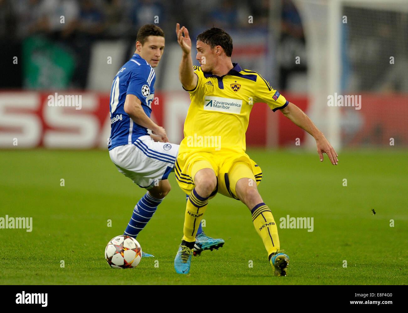 Gelsenkirchen, Deutschland 30.9.2014, Gruppenphase der Championsleague 14/15, Schalke 04 - NK Maribor - Julian Draxler Stockbild