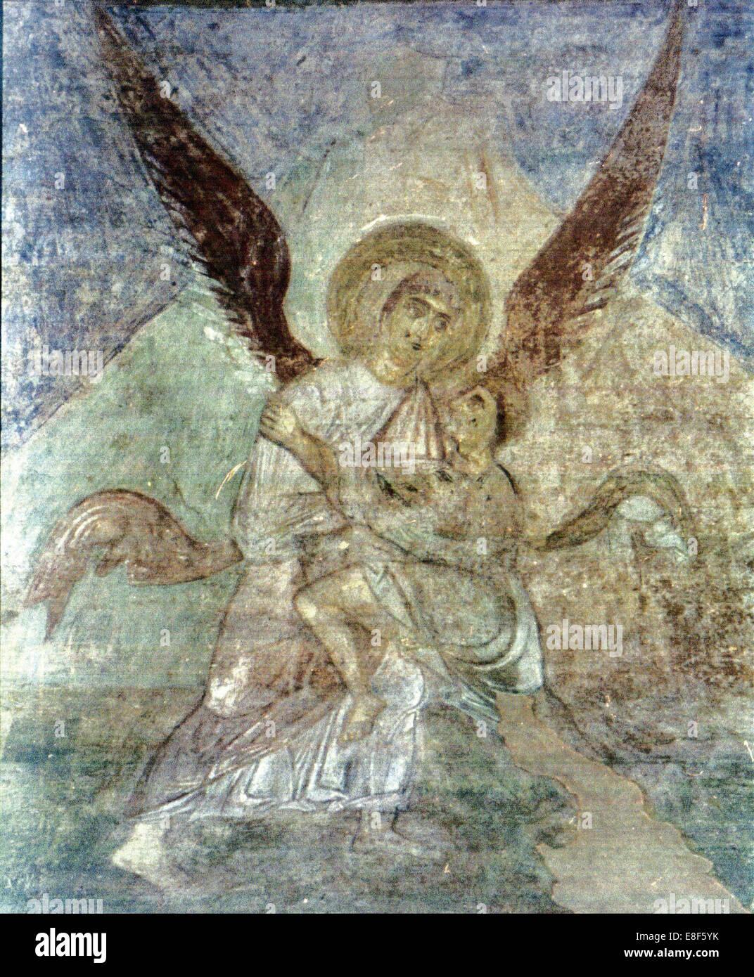 Jakob und der Engel. Künstler: Alte russische Fresken Stockbild