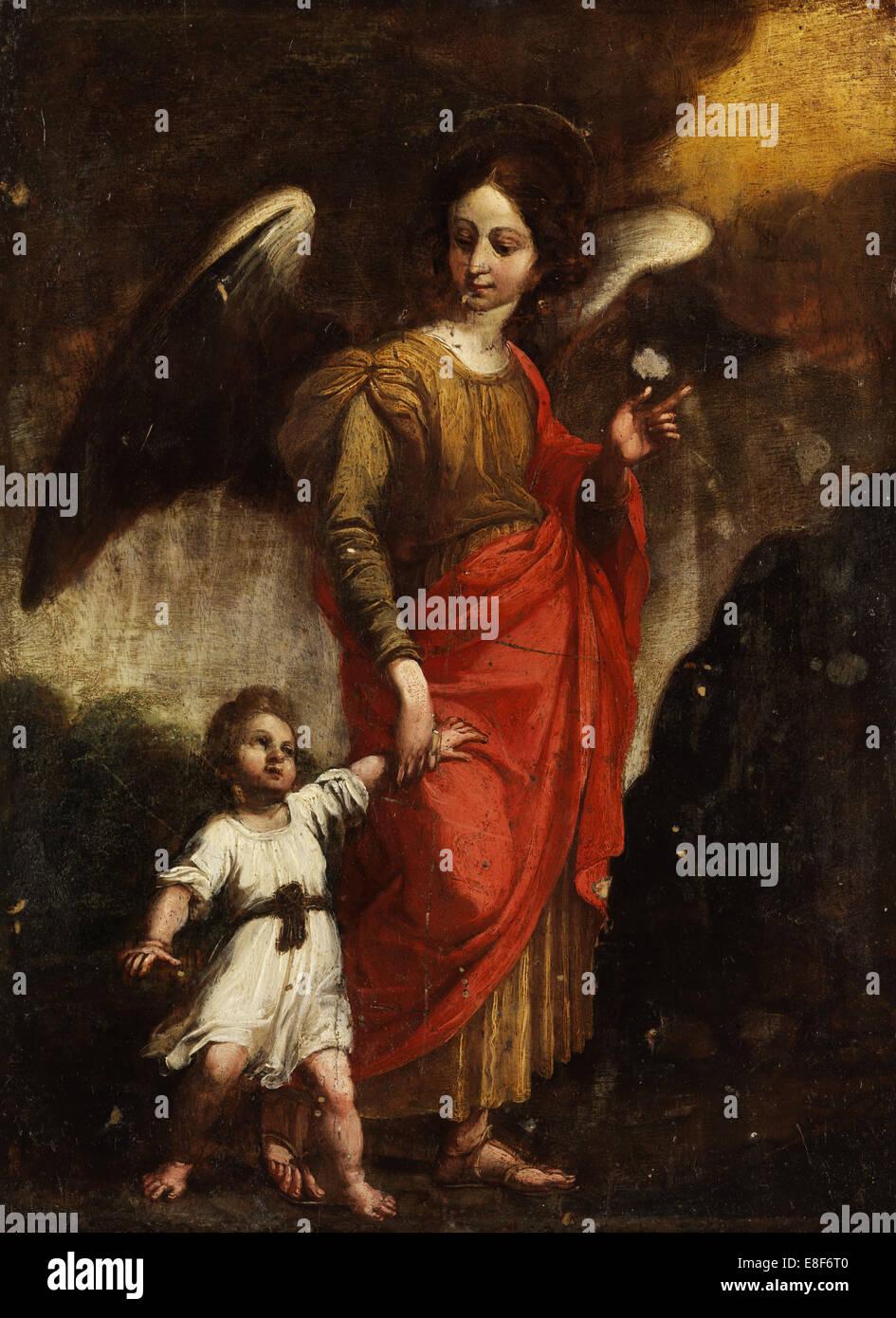 Der Schutzengel. Künstler: Italienischer Meister Stockbild