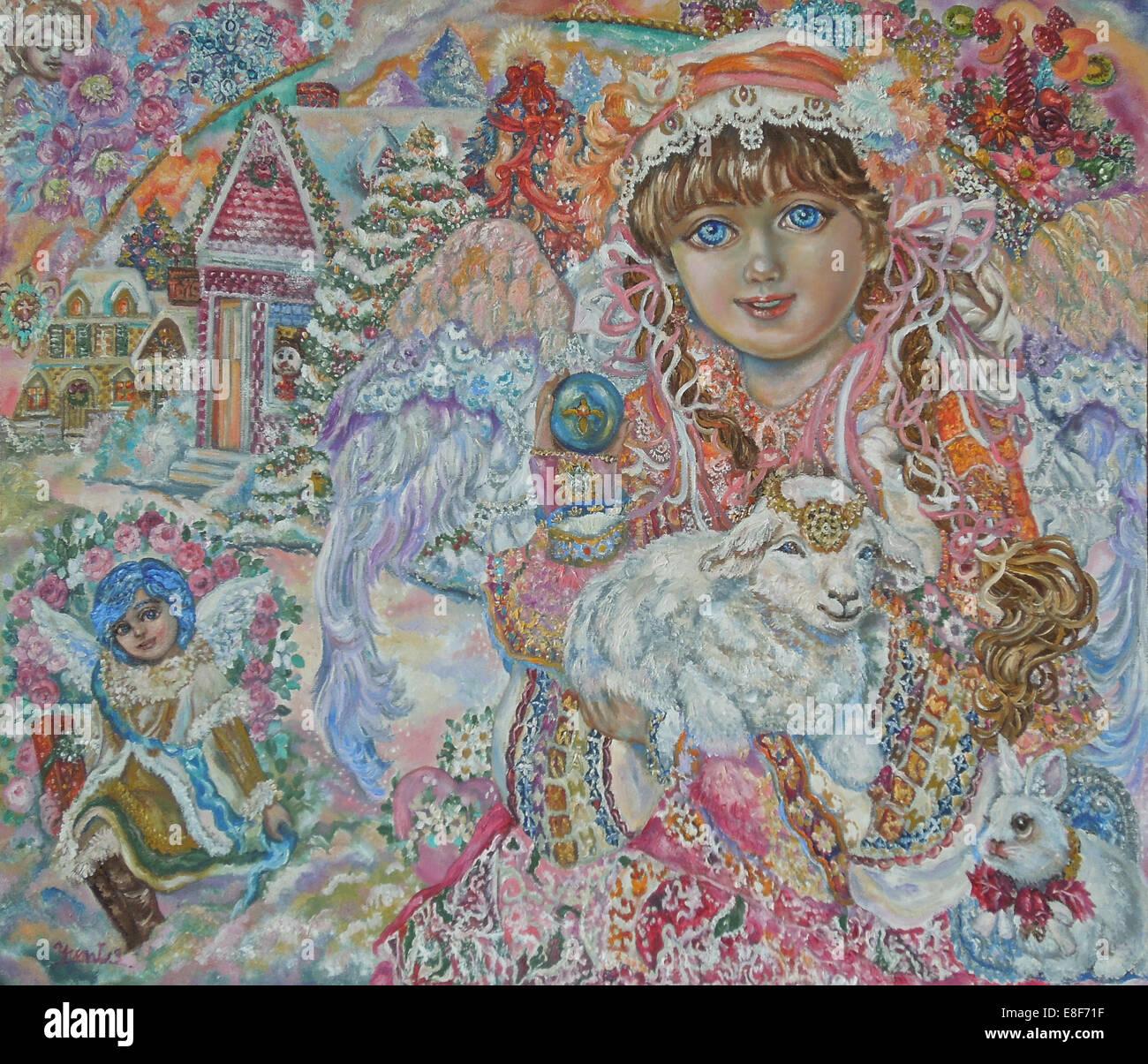 Engel mit Lamb Of God. Künstler: Sugai, Yumi Stockbild