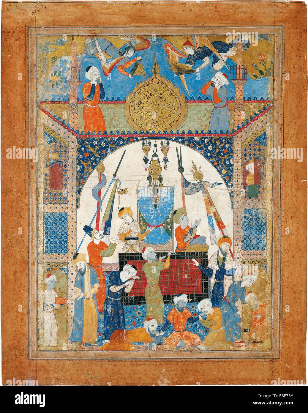 Szene aus einem Mausoleum. Künstler: Iranische Meister Stockbild