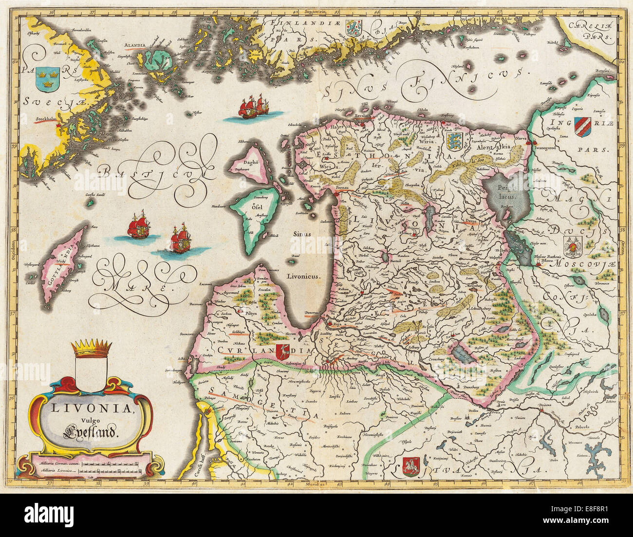 Livonia Karte, Vulgo Lyefland, Atlas Maior. Künstler: Blaeu, Joan (1596-1673) Stockbild