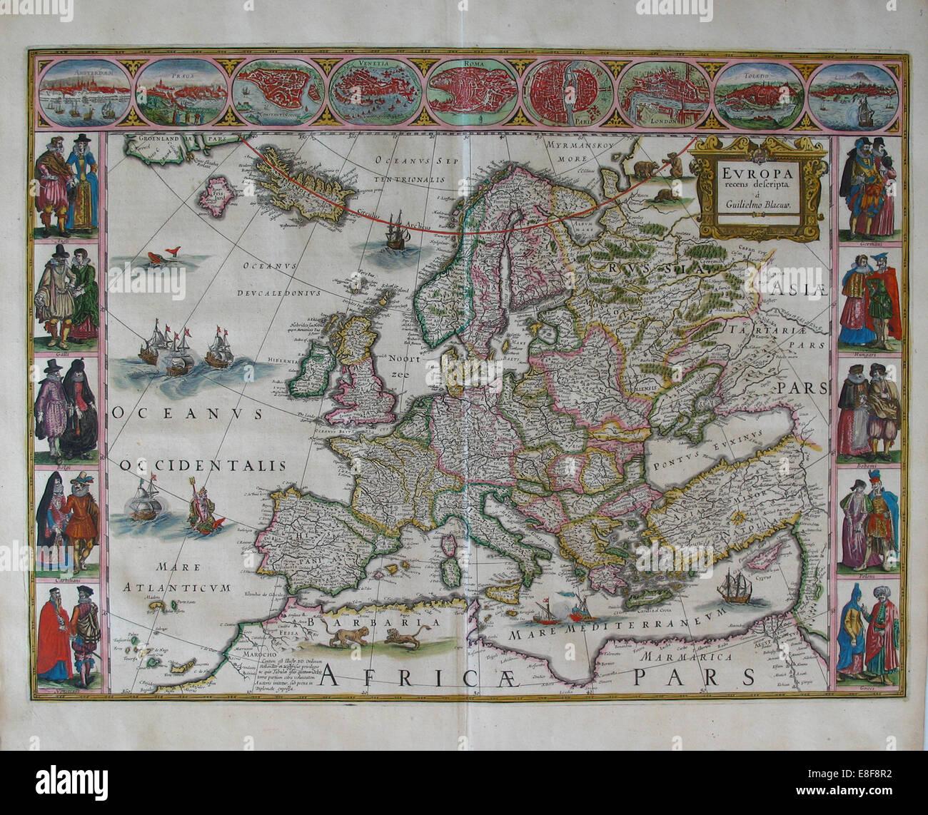 Europakarte (aus: Atlas Maior). Künstler: Blaeu, Joan (1596-1673) Stockbild