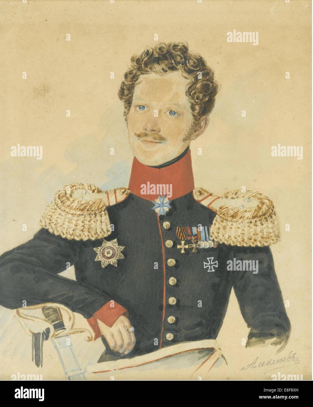 Porträt von Jegor Fyodorovich Meiendorf (1794-1879). Künstler: Alexejew, N.M. (aktive erste Hälfte Stockbild