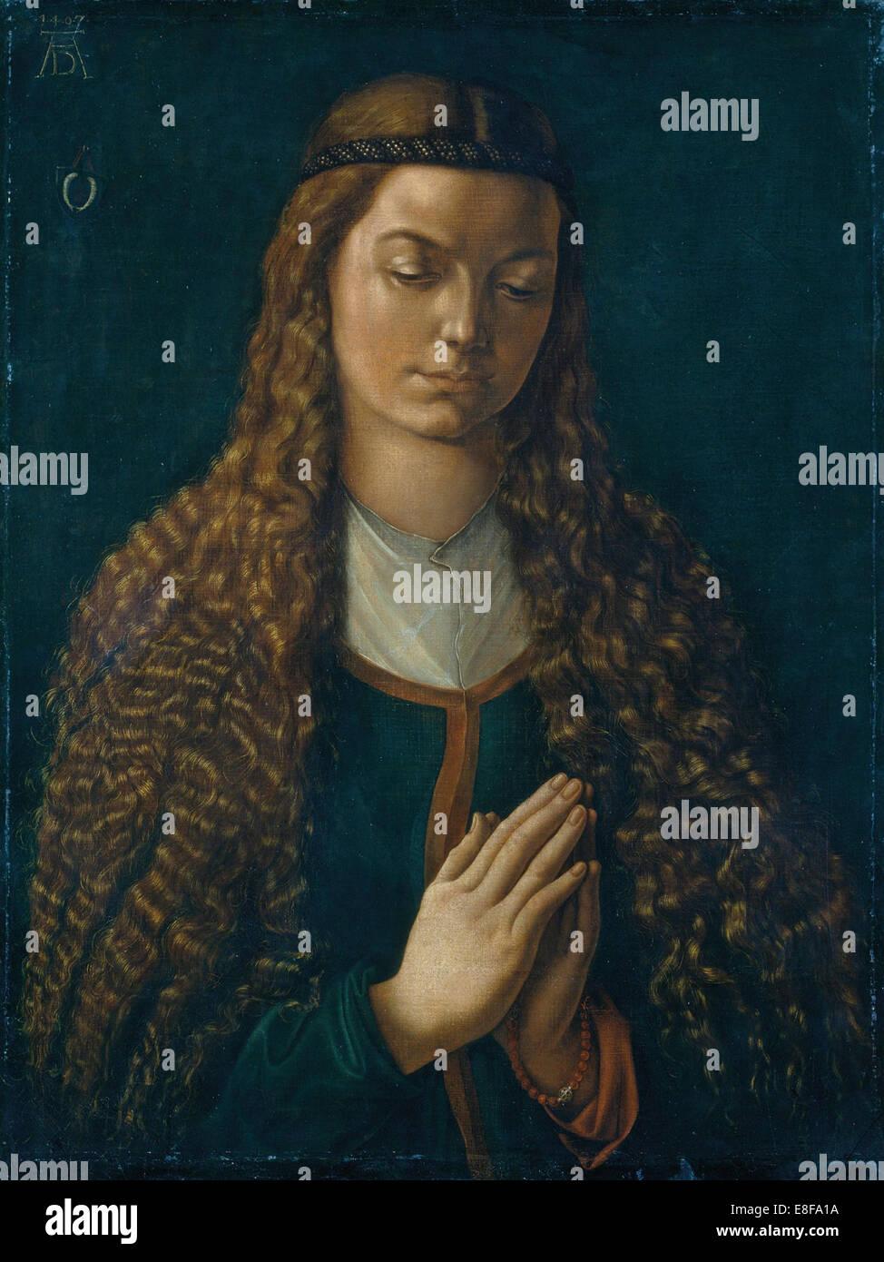 Porträt einer jungen Frau. Künstler: Dürer, Albrecht (1471-1528) Stockbild