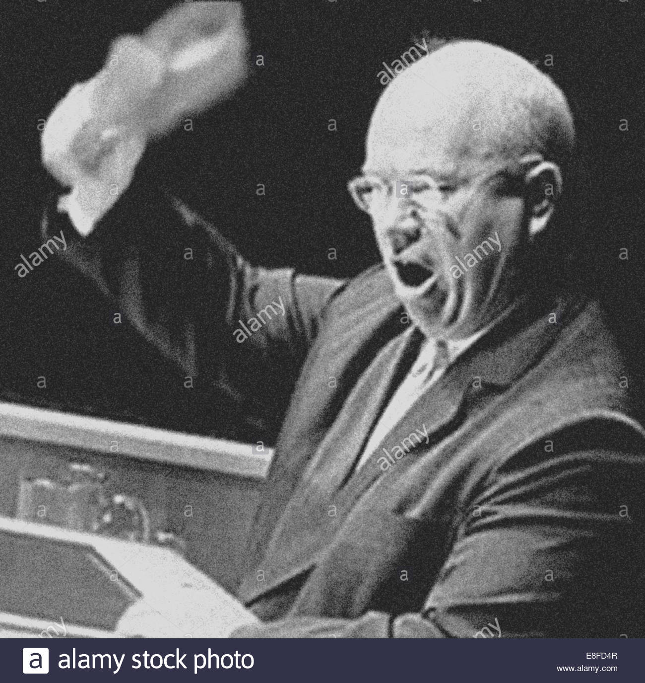 Nikita Chruschtschow auf der UN-Generalversammlung am 23. September 1960. Künstler: anonym Stockbild