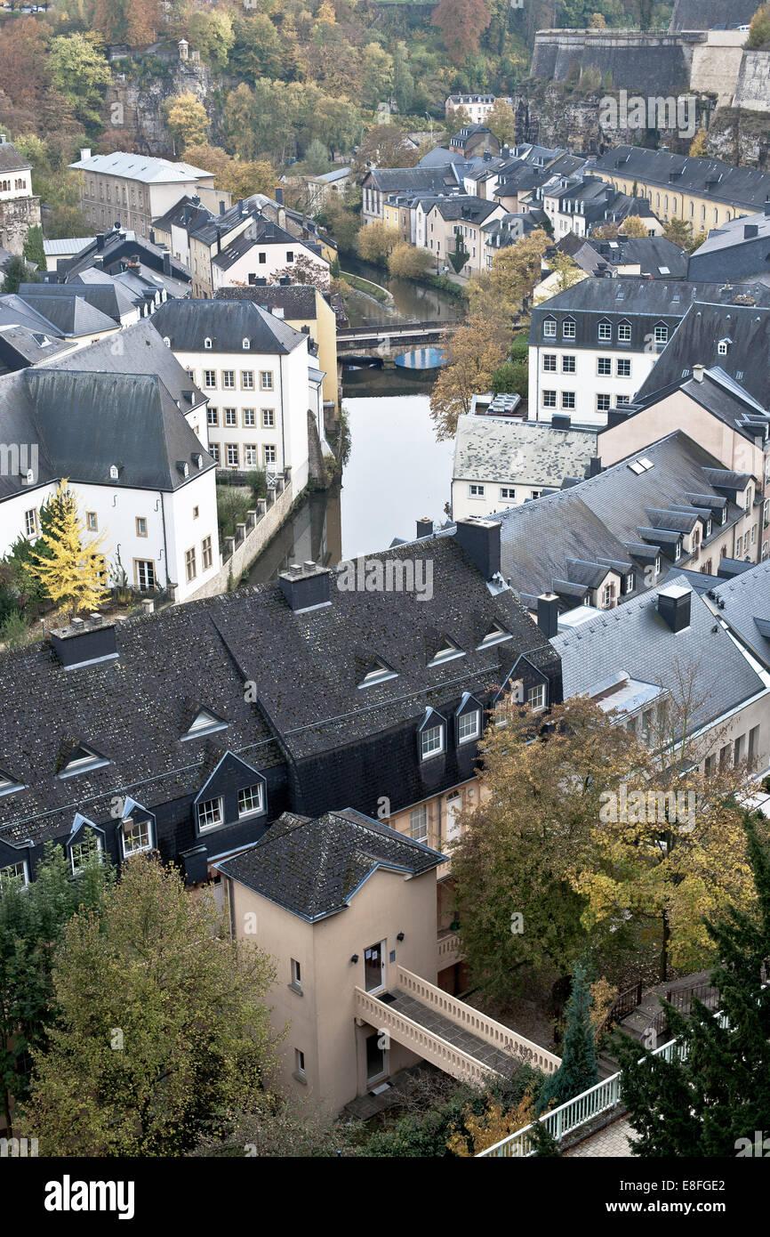 Luftaufnahme der Stadt Luxemburg Stockbild