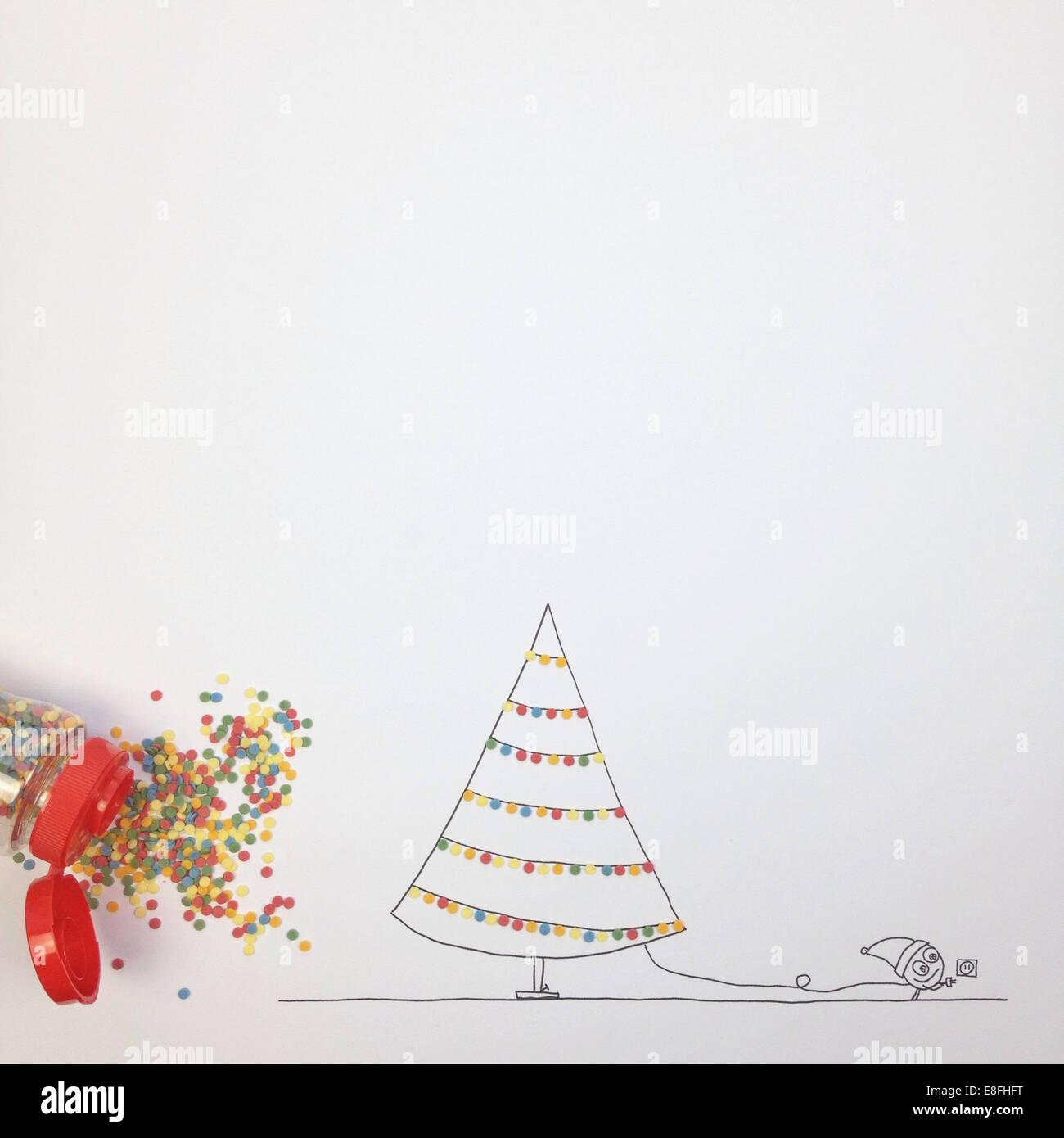 Konzeptionelle Fantasy Charakter schmücken Weihnachtsbaum mit Lichterketten Stockbild