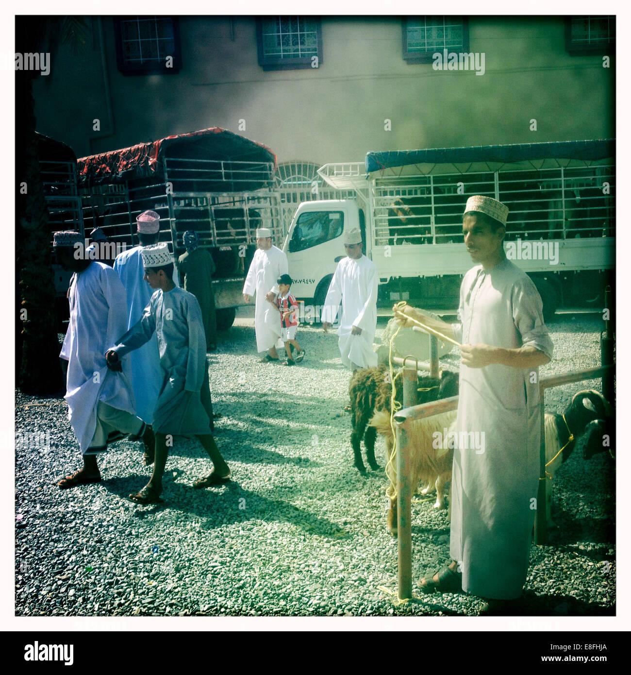 Oman, Nizwa, lokalen Viehmarkt Stockbild