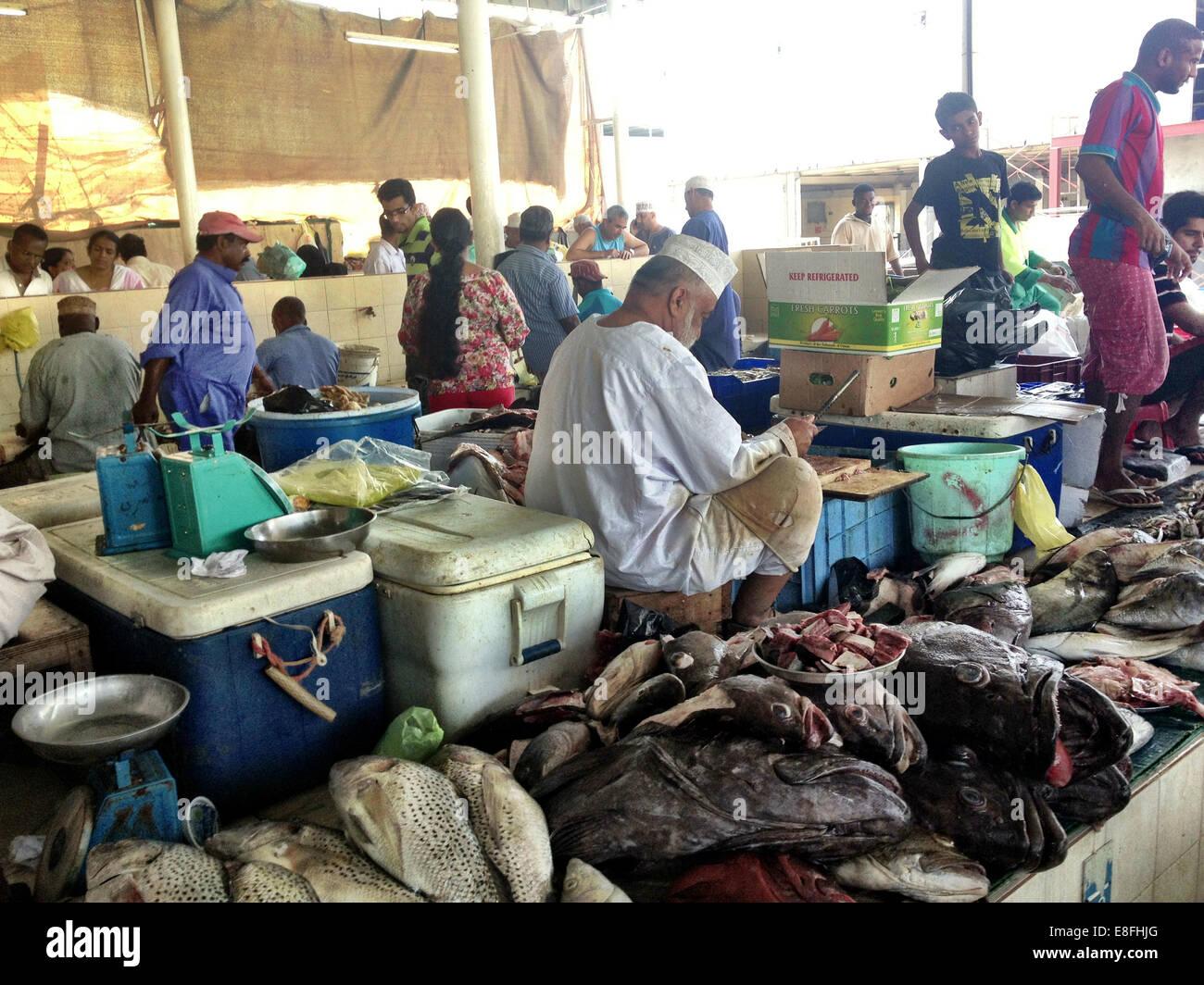 Oman, Maskat, Overlooking Fischmarkt Stockbild