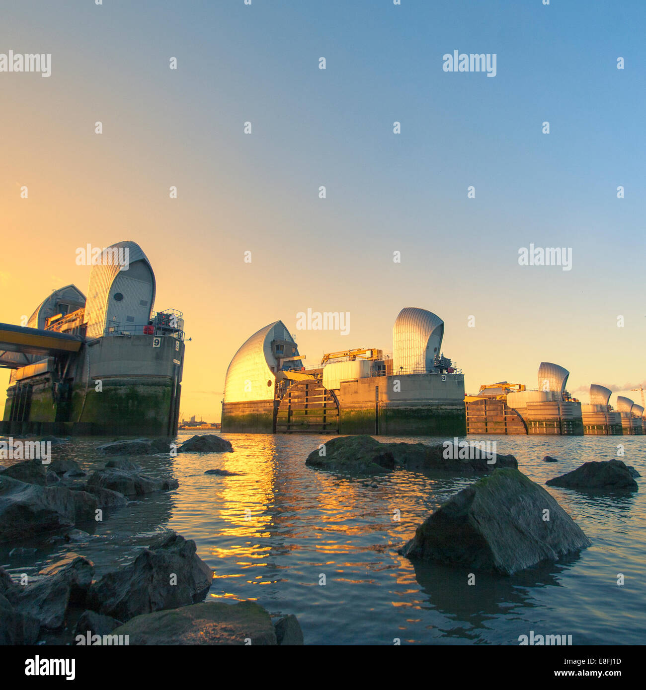 Thames Barrier, London, England, UK Stockbild