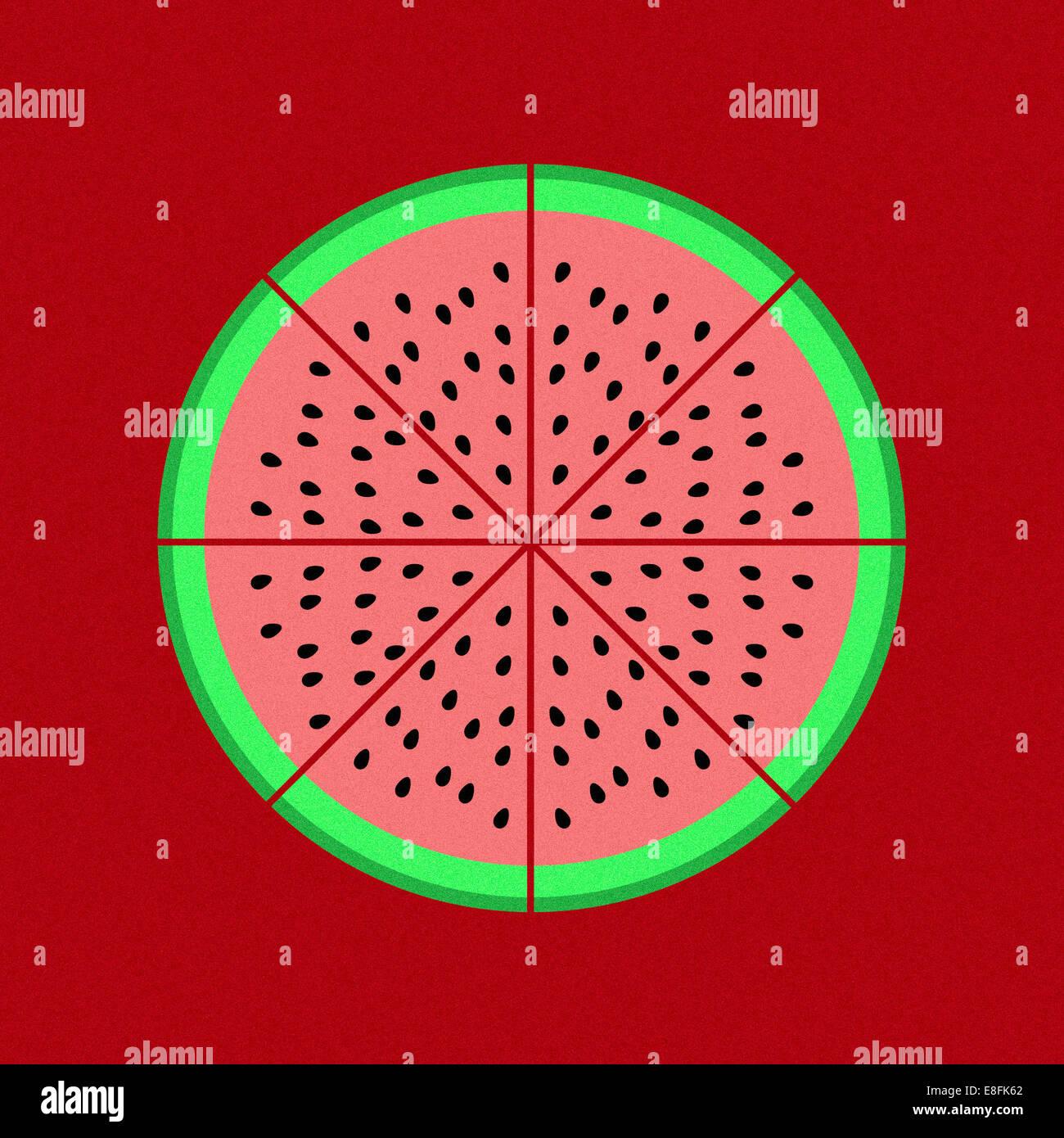 Kreisdiagramm Grafik auf rotem Grund Stockbild