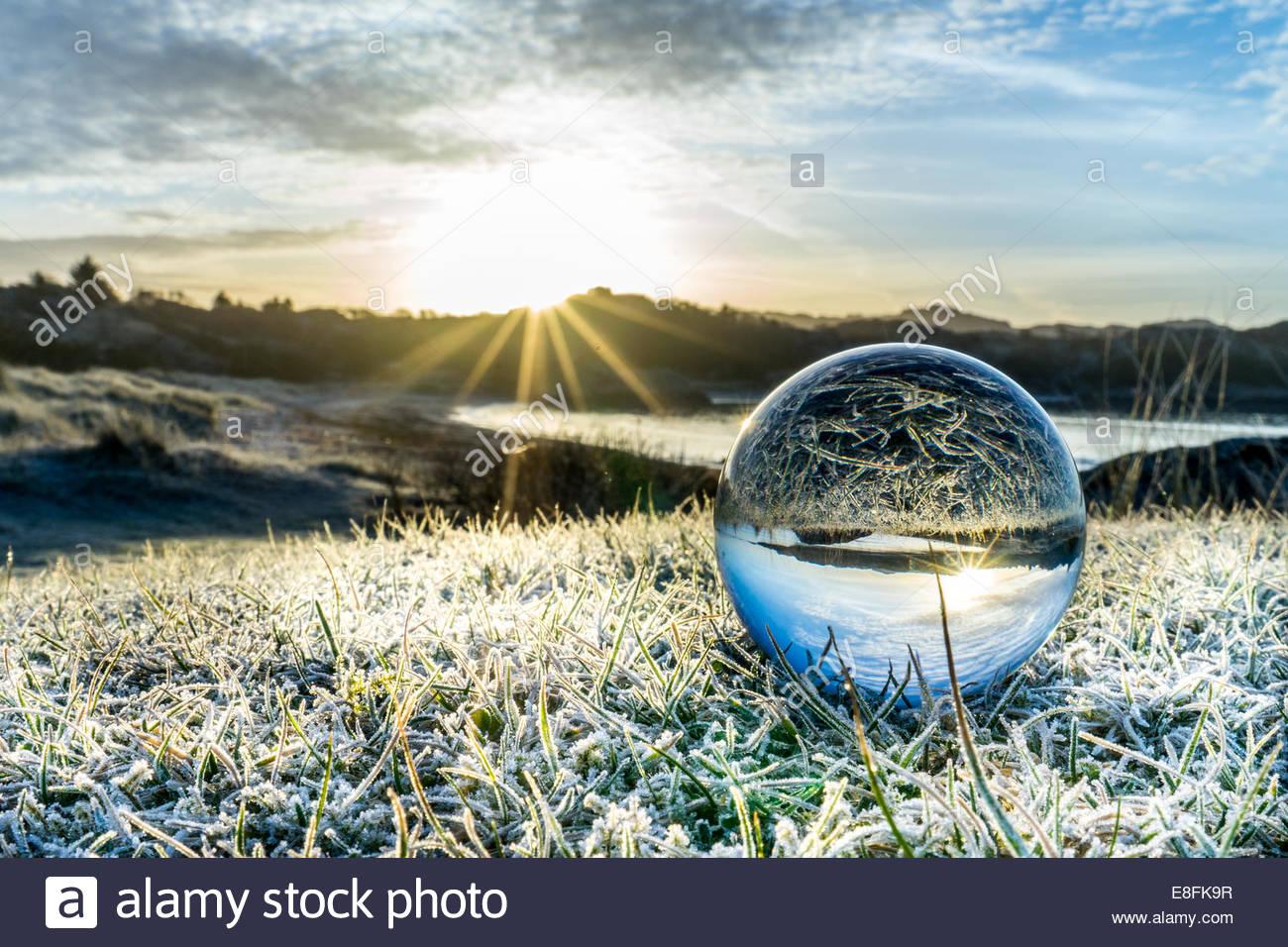 Norwegen, Rogaland, Sunrise und frostigen Grass durch Kristallkugel am Skadberg beach Stockbild