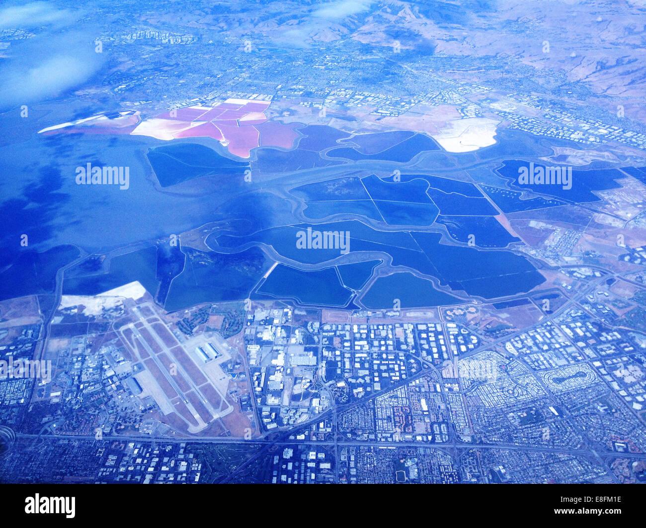USA, Nevada, Landwirtschaft und städtischen Umwelt von oben Stockbild