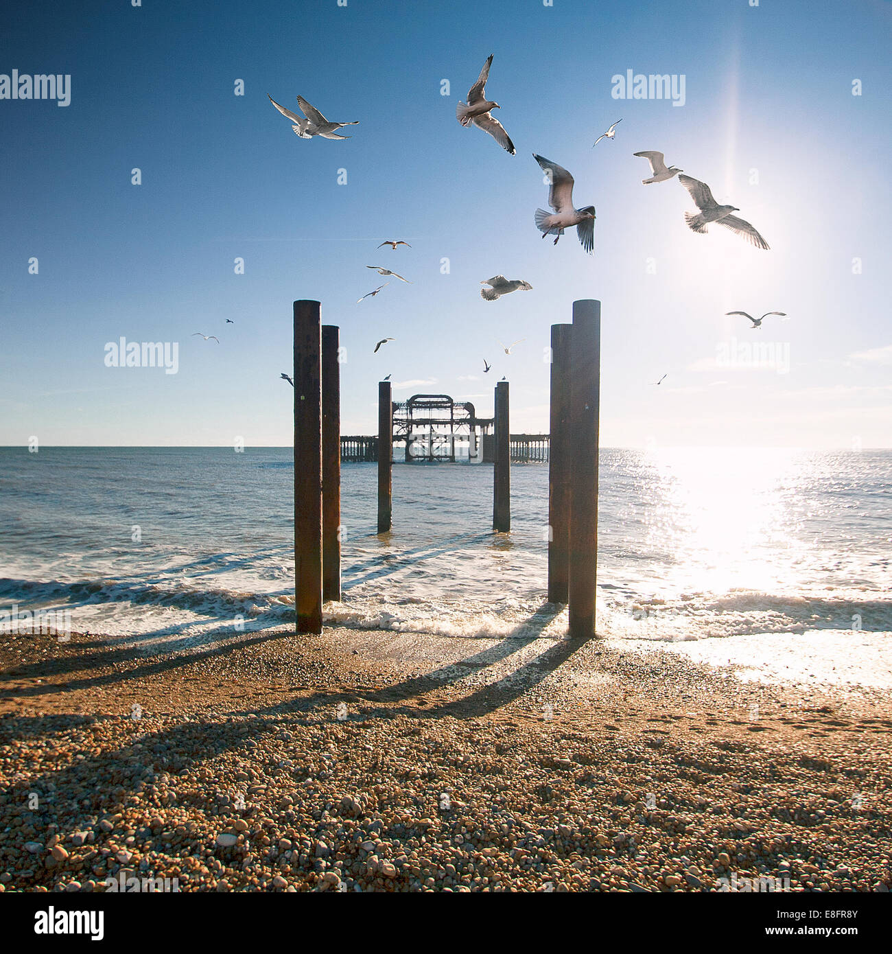 Brighton West Pier, East Sussex, England, UK Stockbild