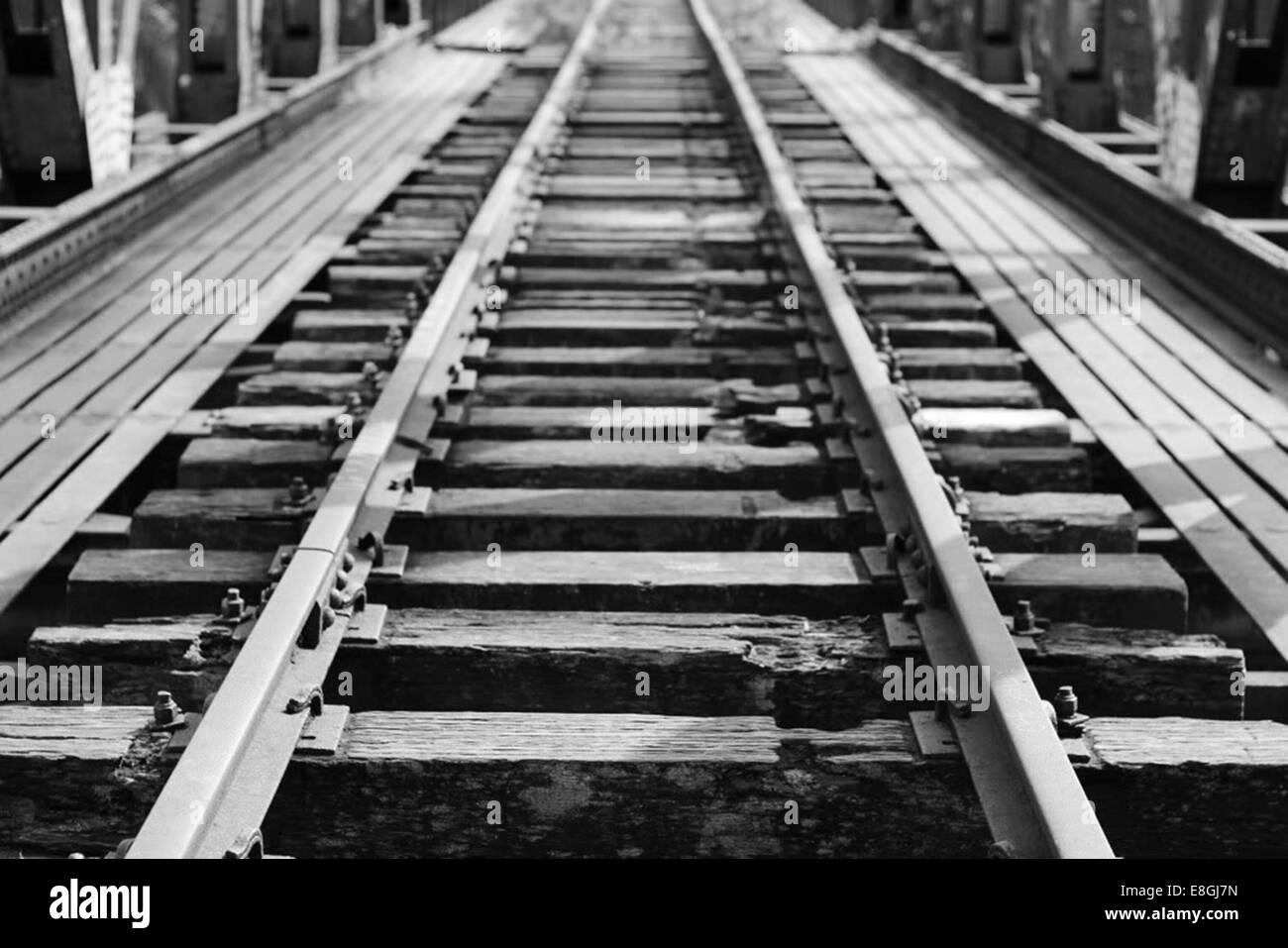 Nahaufnahme des verlassenen Bahngleis Stockbild