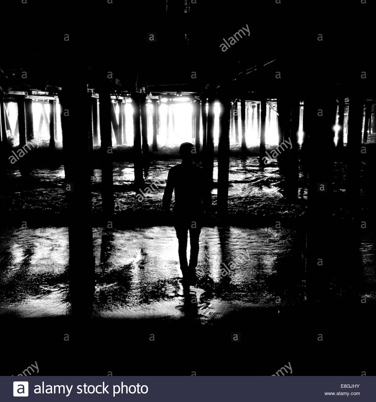 Silhouette einer Person stehen unter den Pier, Santa Monica, Kalifornien, Amerika, USA Stockbild