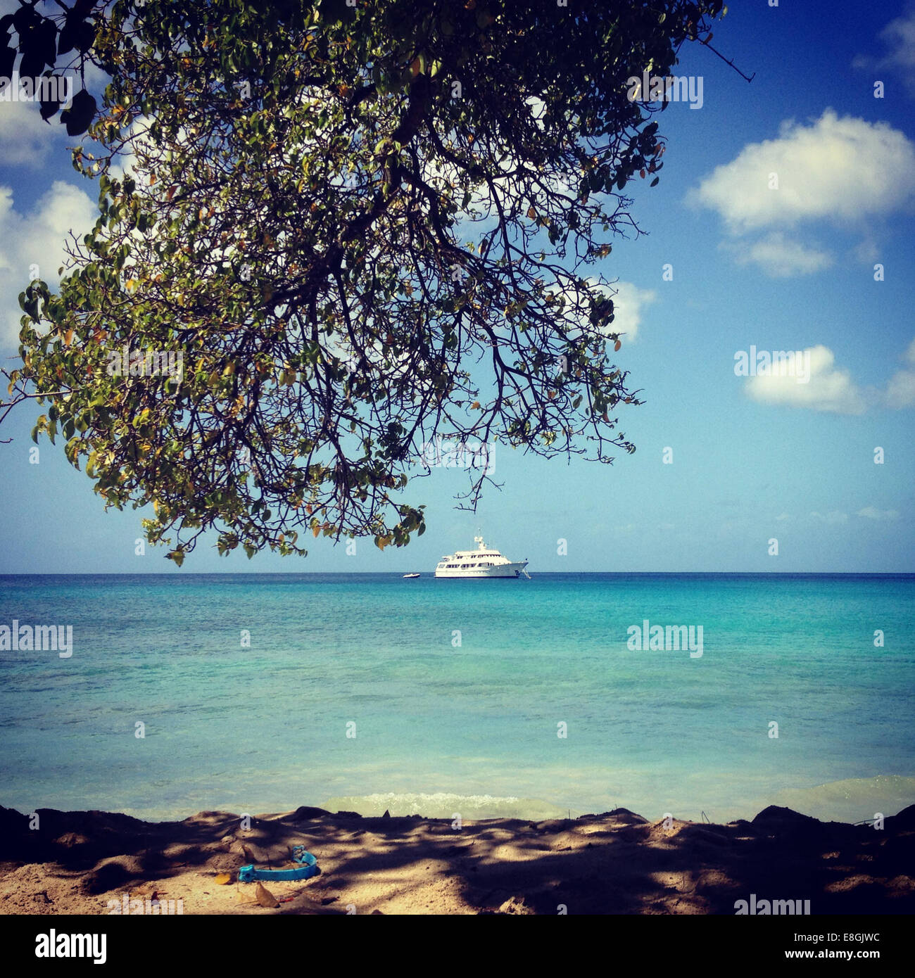 Barbados, Barbados, Blick auf Yacht und Seelandschaft Stockbild
