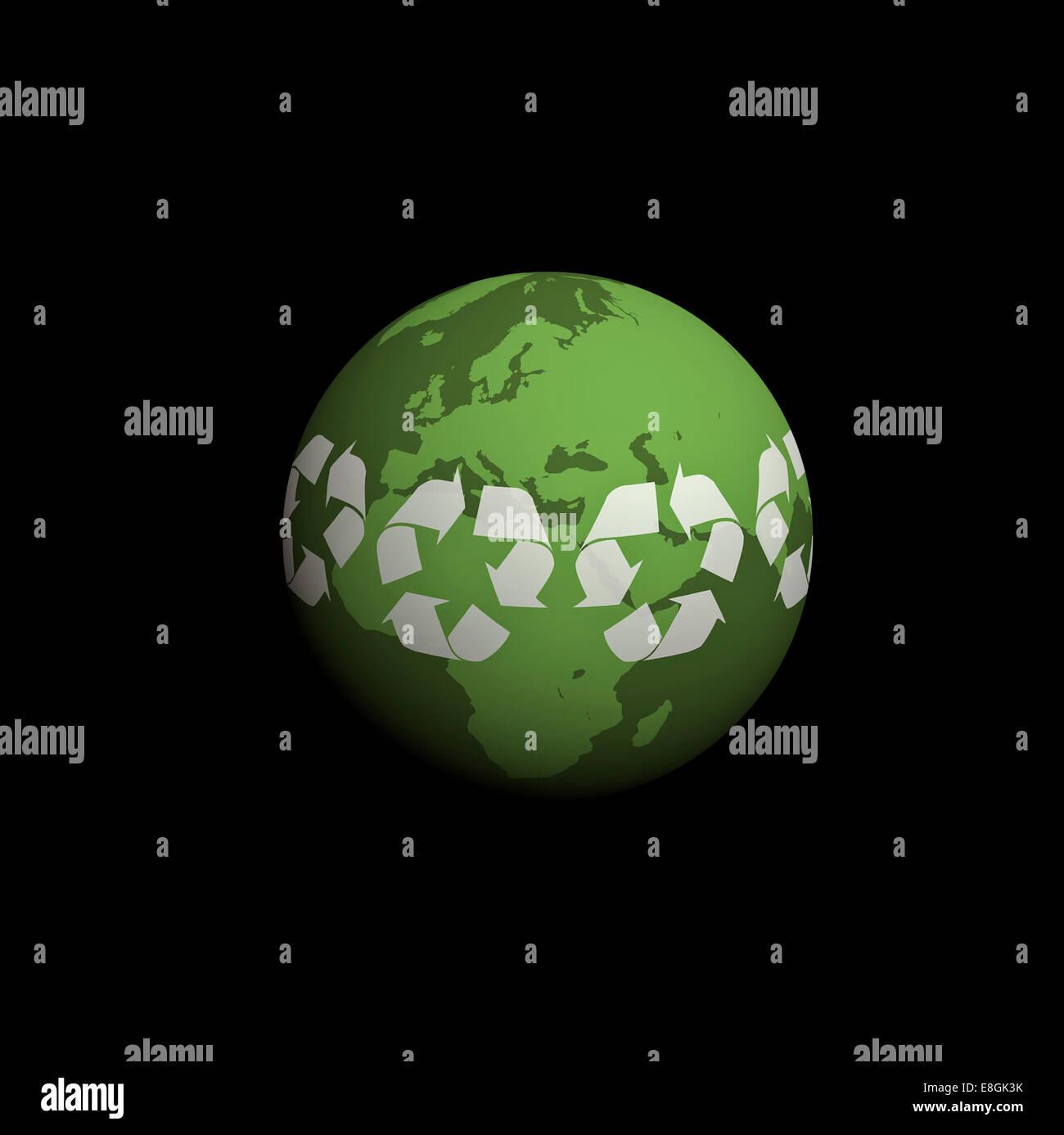Digital erzeugte Bild des Planetenerde, grüner planet Stockbild