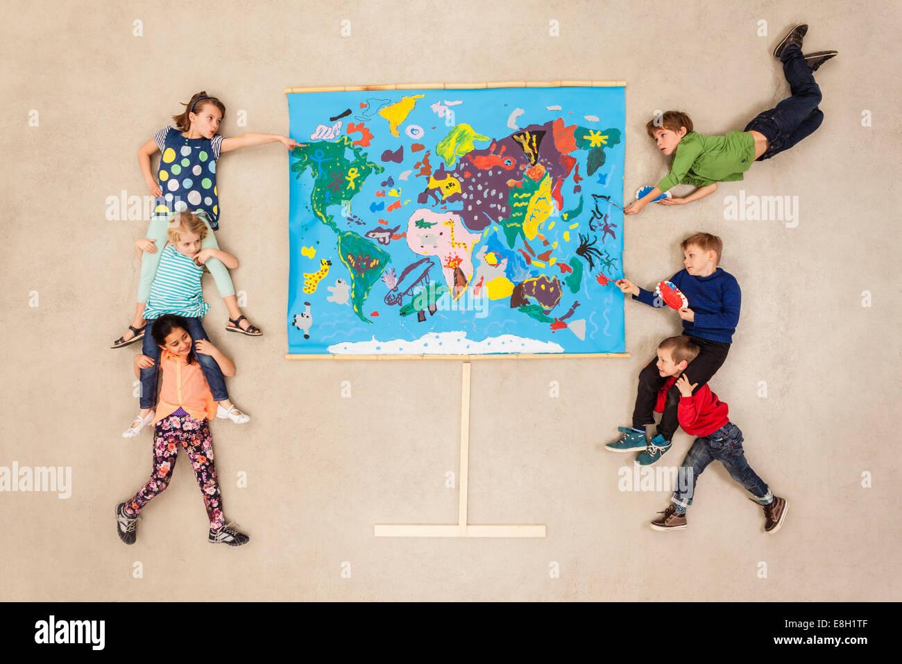 Weltkarte, Kinder lernen Geographie Stockbild