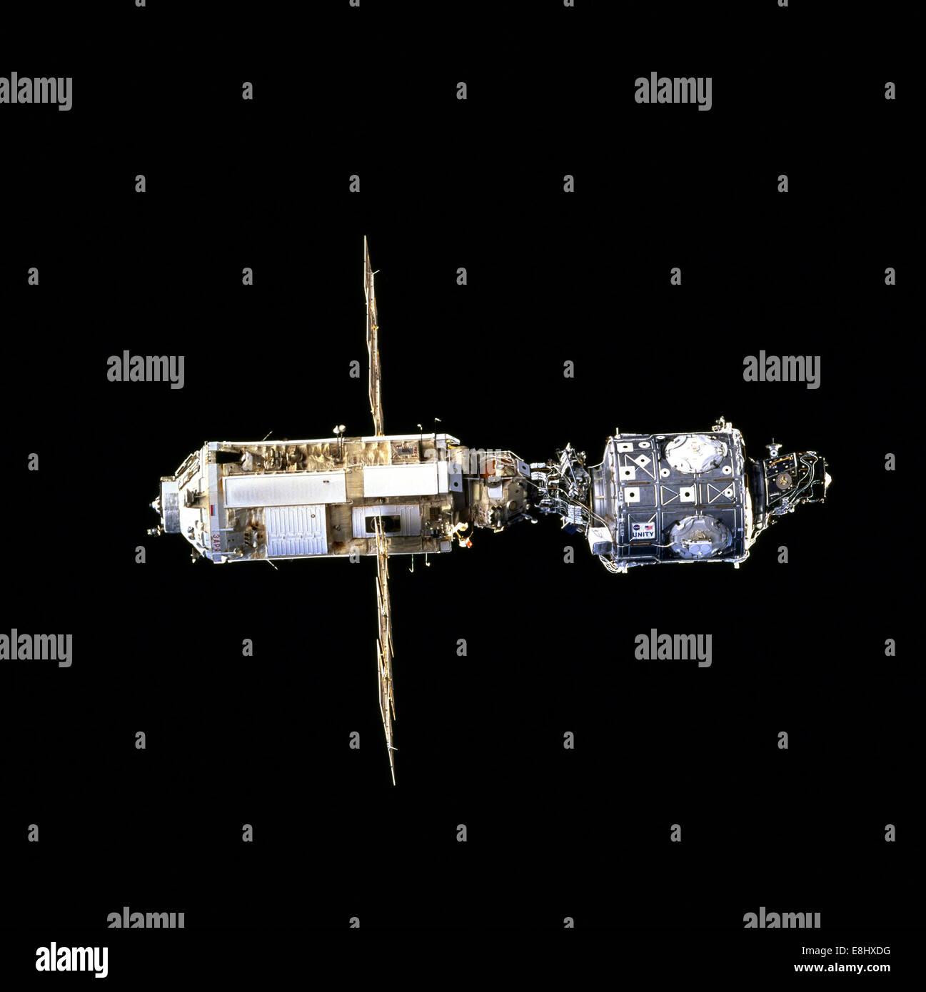 Ersten Montageschritt (Archiv NASA, internationale Raumstation Stockbild