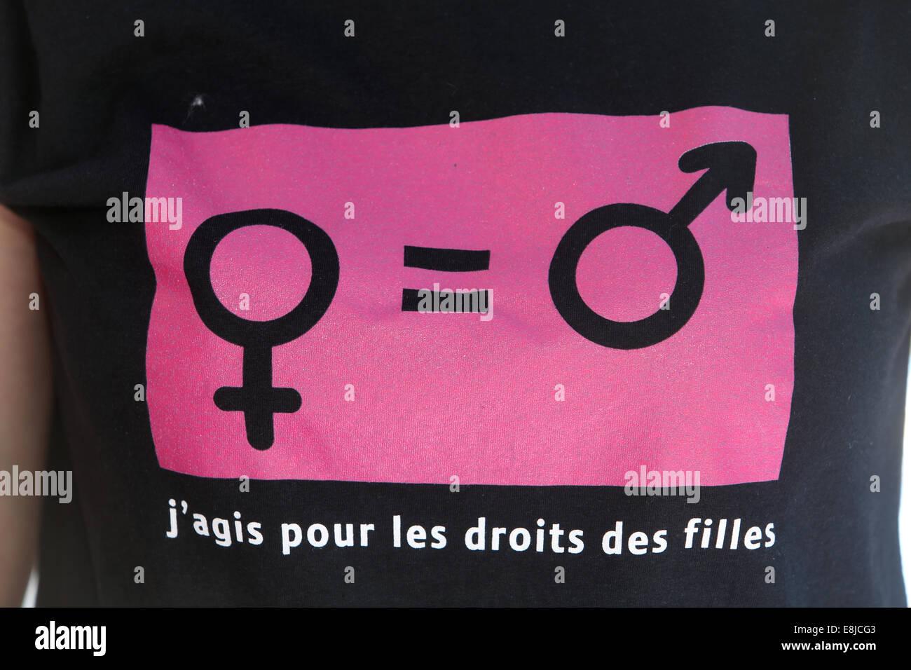 T-Shirt: Gleichstellung der Geschlechter. Feminismus. Stockbild