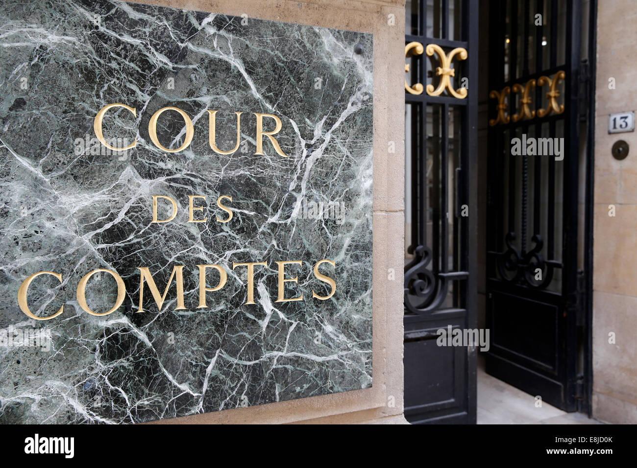Französischen Rechnungshof. Eingang. Stockfoto