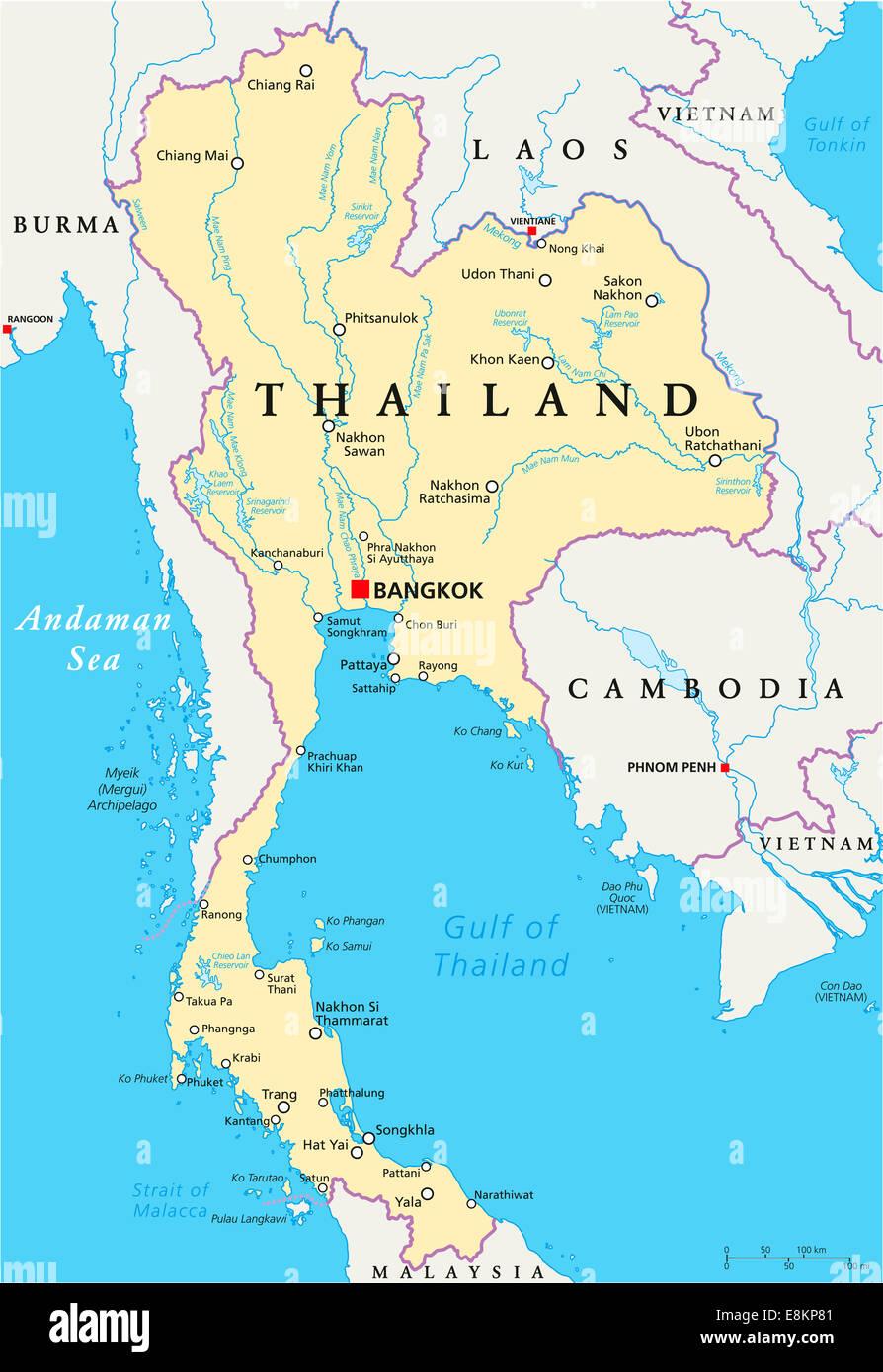 thailand landkarte mit hauptstadt bangkok landesgrenzen die wichtigsten st dte fl sse und. Black Bedroom Furniture Sets. Home Design Ideas