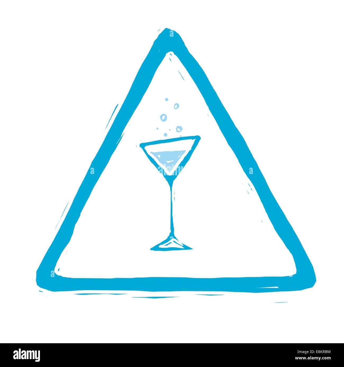 Piktogramm veranschaulicht die Gefahren des Alkohols. Stockbild