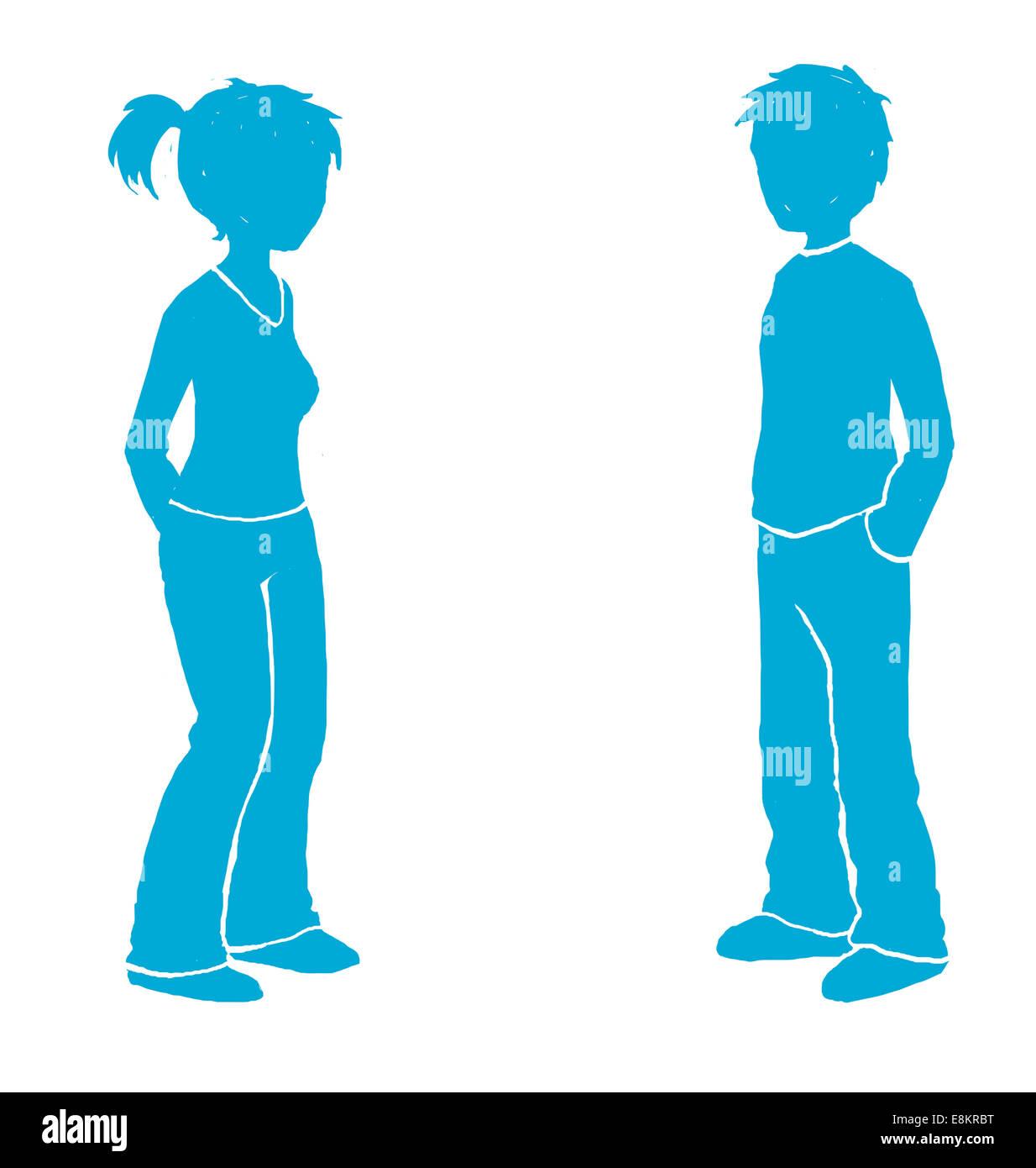 Piktogramm einer jungen Frau und Mann. Stockbild