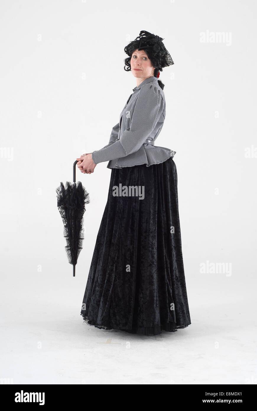 Frau Gekleidet Im Kostum Als Wildwest Viktorianische Dame Mit