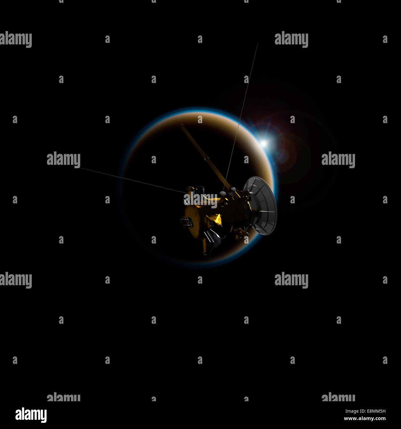 Künstlers Konzept von Cassini beobachten eines Sonnenuntergangs auf Titan, der größte Mond des Saturn. Stockbild