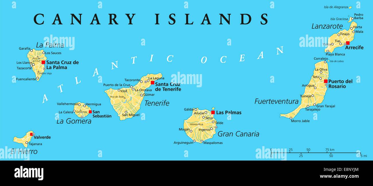 Kanarischen Inseln Politische Karte Mit Lanzarote Fuerteventura