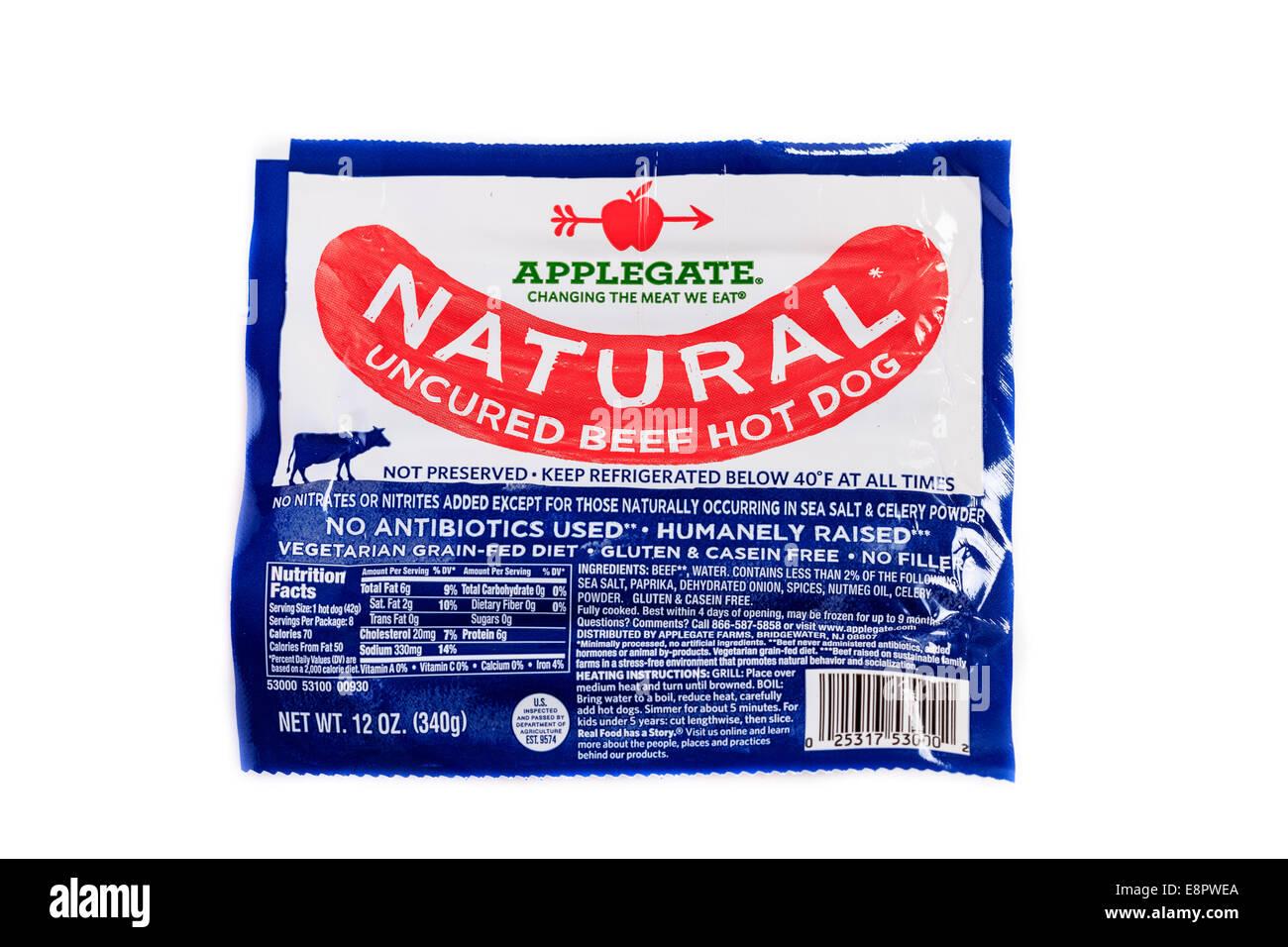 Ein Paket von Applegate natürliche polymerisierte Rindfleisch Hot Dogs Stockbild