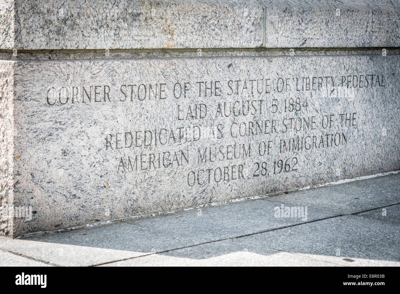 Die von der Statue of Liberty Sockel, Grundstein 5. August 1884 - Liberty Island, New York - USA. Stockbild