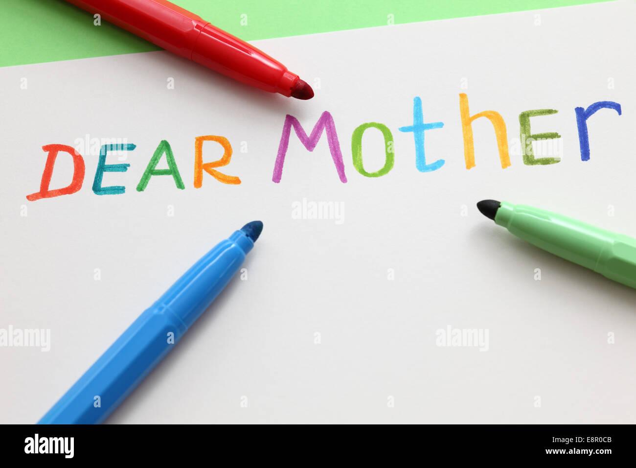 Liebe Mutter... Stockbild