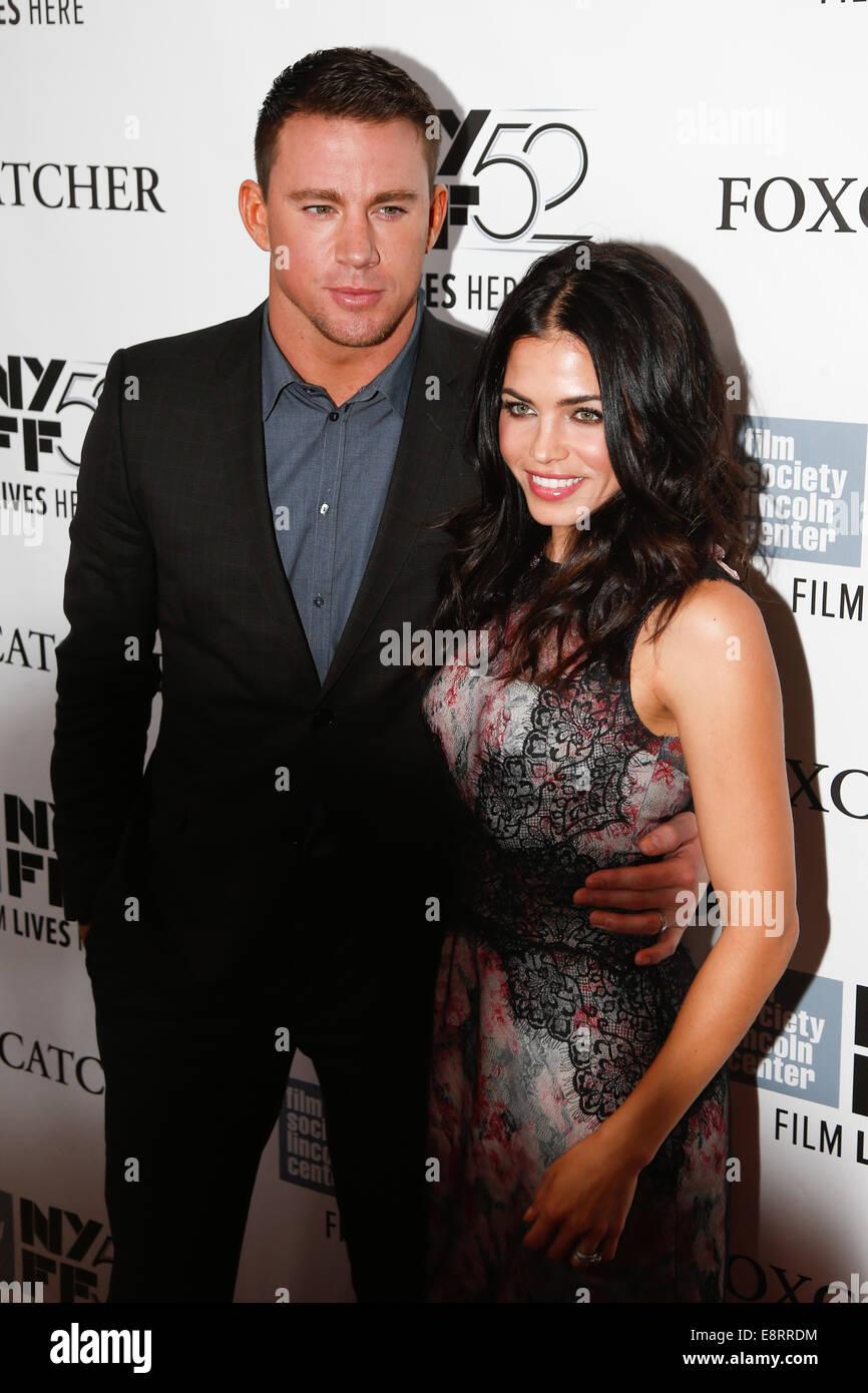 """NEW YORK-OCT 10: Schauspieler Channing Tatum (L) und Frau Jenna Dewan Tatum besuchen Sie die """"Foxcatcher"""" Stockbild"""