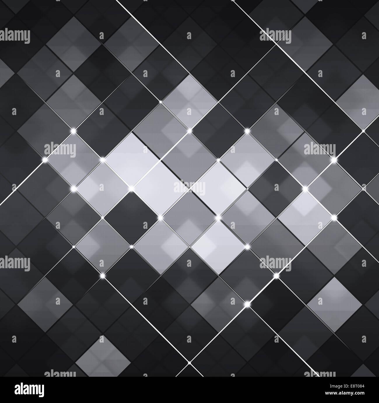 schwarze und weiße quadratische Punkte Technik Hintergrund abstrakt Stockfoto