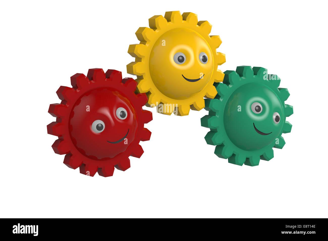 3D Smiley Symbol Sphären mit Zahnrädern Stockbild