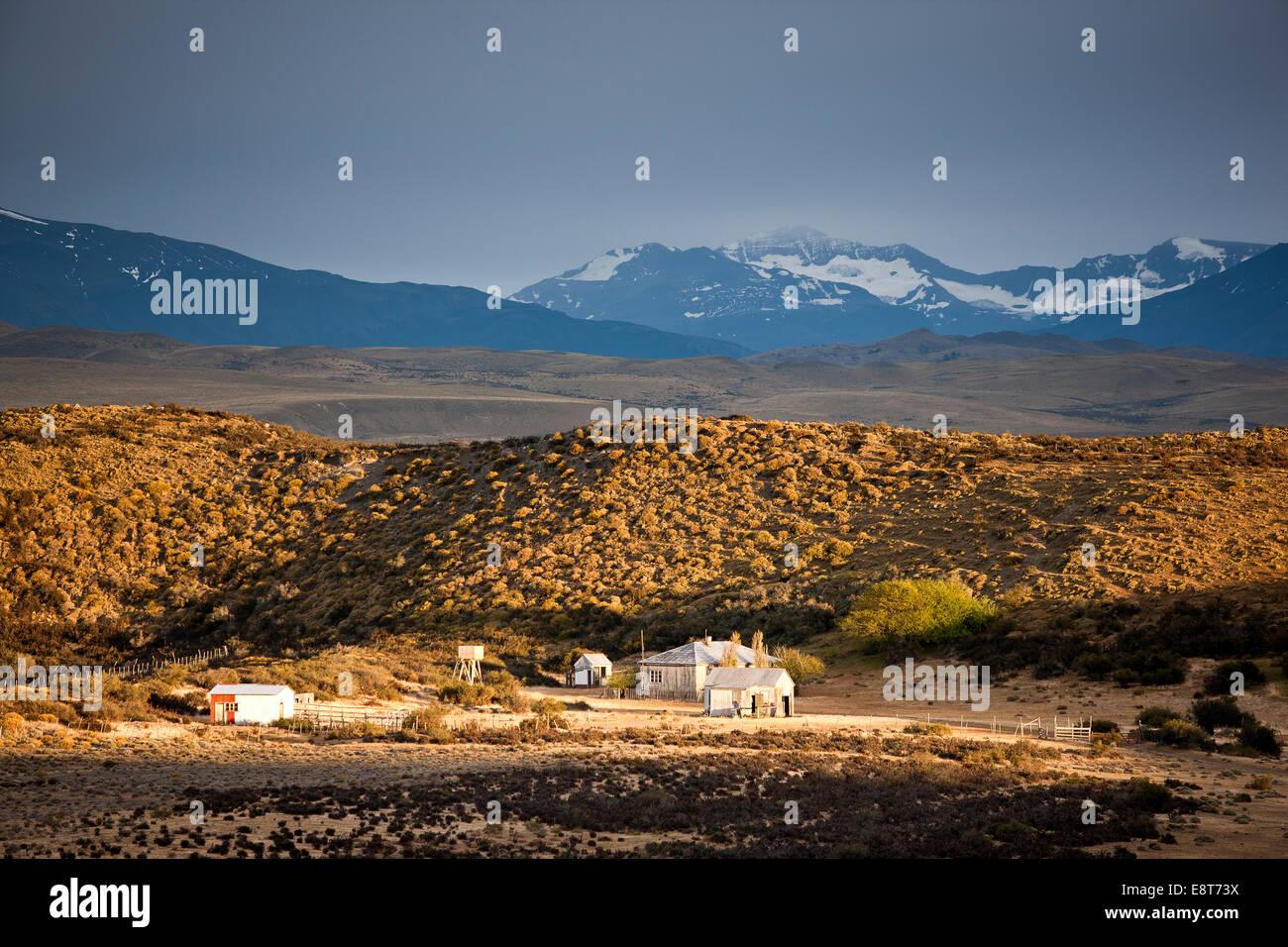 Alter Bauernhof in Patagonien, Chile, Südamerika Stockbild