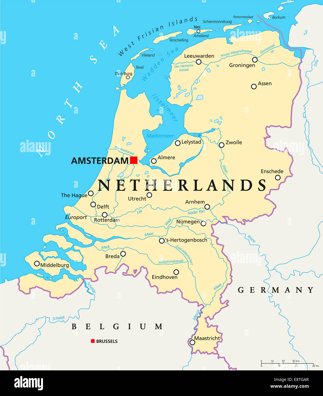 niederlande politische karte mit hauptstadt amsterdam landesgrenzen wichtige st dte fl sse. Black Bedroom Furniture Sets. Home Design Ideas